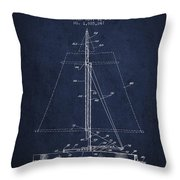 Sailboat Patent From 1932 - Navy Blue Throw Pillow