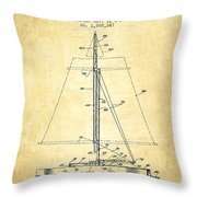 Sailboat Patent From 1932 - Vintage Throw Pillow