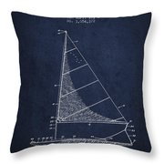 Sailboat Patent From 1962 - Navy Blue Throw Pillow