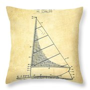 Sailboat Patent From 1962 - Vintage Throw Pillow