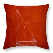 Sailboat Patent From 1991- Red Throw Pillow
