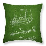 Sailboat Patent From 1996 - Green Throw Pillow