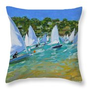 Sailboat Race Throw Pillow by Andrew Macara