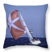 Sailboat Race On Puget Sound Throw Pillow