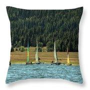 Sailboat Regatta Cascade Lake Throw Pillow