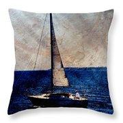 Sailboat Slow W Metal Throw Pillow