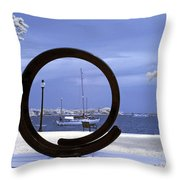 Sailboat Through Omphalos Sculpture Near Infrared Throw Pillow