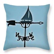 Sailboat Weathervane Throw Pillow