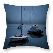 Sailboats At Dawn Throw Pillow