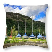 Sailboats At Glenridding In The Lake District Throw Pillow