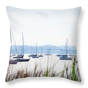 Sailboats At Rest Throw Pillow by Bill Cannon