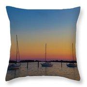 Sailboats At Sunset Clinton Connecticut Throw Pillow