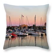 Sailboats At Sunset Throw Pillow