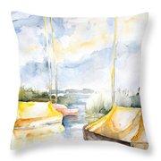 Sailboats Awakening Throw Pillow
