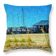 Sailboats Boat Harbor - Quiet Day At The Harbor Throw Pillow