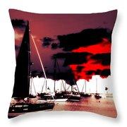 Sailboats In The Marina Surreal 2 Throw Pillow
