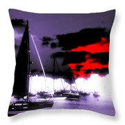 Sailboats In The Marina Surreal 3 Throw Pillow