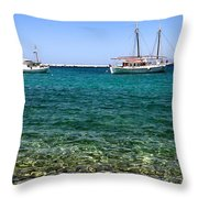 Sailboats On The Water Throw Pillow