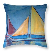 Sailboats With Red And Yellow Sails Throw Pillow