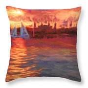 Sailboatsunset Throw Pillow
