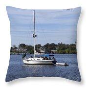 Sailing At Ballard Park On The Eau Gallie River In Melbourne Flo Throw Pillow