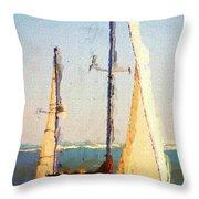 Sailing At Daytona Throw Pillow