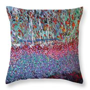Sailing Among The Flowers Throw Pillow