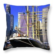 Sailing Boat Anchored In South Street Seaport 1984 Throw Pillow