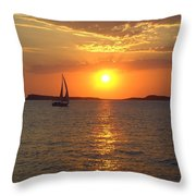 Sailing Boat In Ibiza Sunset Throw Pillow