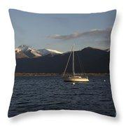 Sailing Boat On An Alpine Lake Throw Pillow