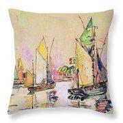 Sailing Boats At Les Sables D Olonne  Throw Pillow