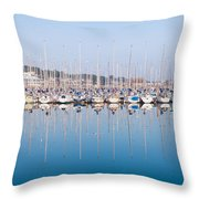 Sailing Boats In The Howth Marina Throw Pillow