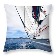 Sailing Bvi Throw Pillow by Adam Romanowicz
