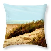 Sailing By Sand Dune Throw Pillow