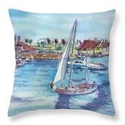 Sailing By Shoreline Village Throw Pillow