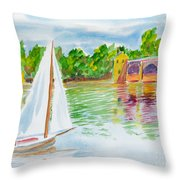 Sailing By The Bridge Throw Pillow