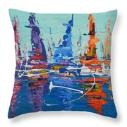 Sailing By The Lighthouse Throw Pillow