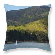 Sailing Cook Strait Throw Pillow