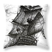 Sailing Drawing Pen And Ink In Black And White Throw Pillow by Mario Perez