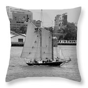 Sailing Free In Black And White Throw Pillow