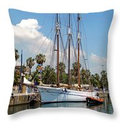 Sailing In Barcelona Throw Pillow