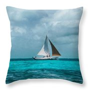 Sailing In Blue Belize Throw Pillow