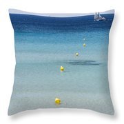 Son Bou Beach In South Coast Of Menorca Is A Turquoise Treasure - Sailing In Blue Throw Pillow