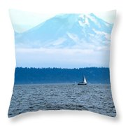 Sailing In Mt. Rainier's Shadow Throw Pillow