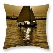 Sailing In Sepia Throw Pillow