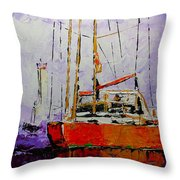 Sailing In The Mist Throw Pillow by Vickie Warner