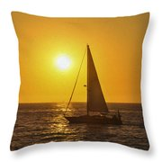Sailing Into The Sunset Throw Pillow by Aged Pixel
