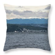 Sailing Lake Taupo Throw Pillow