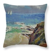 Sailing Off The Cove Throw Pillow by Michael Creese