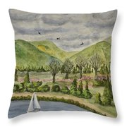 Sailing On A Cloudy Day Throw Pillow